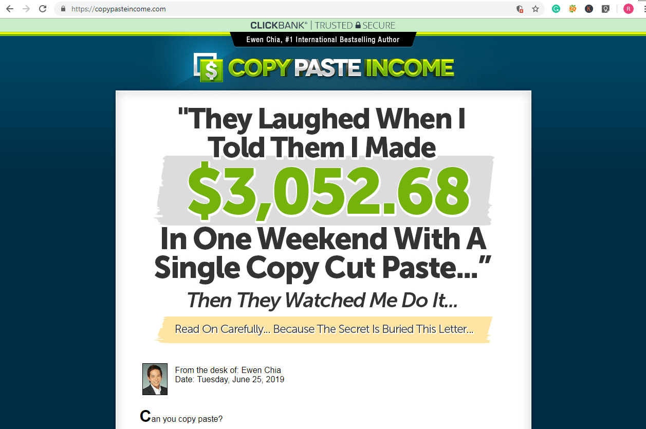 copy paste income review